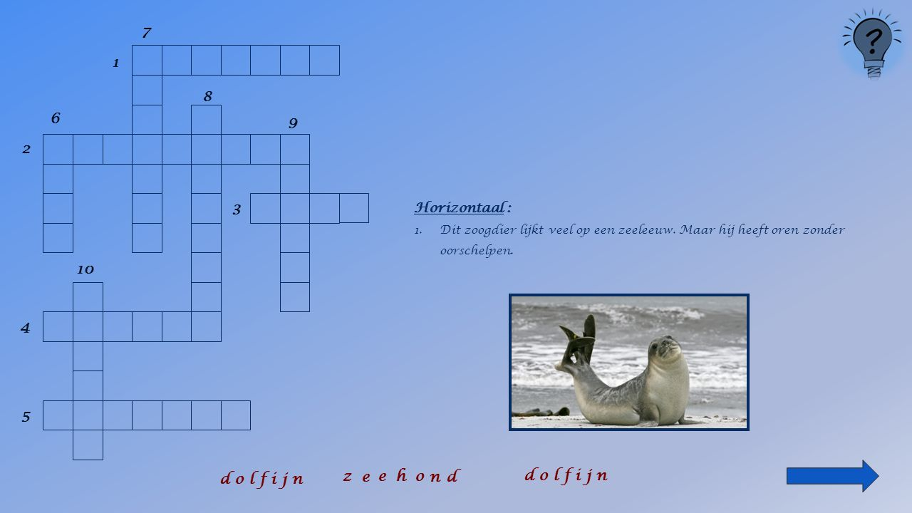 1 2 6 8 9 3 4 5 10 Horizontaal : 1.Dit zoogdier lijkt veel op een zeeleeuw.