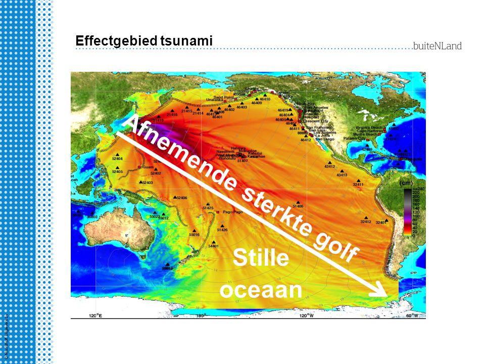 Effectgebied tsunami Stille oceaan Afnemende sterkte golf
