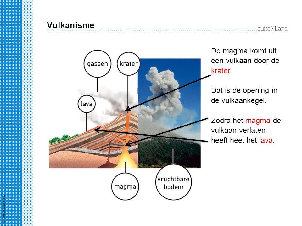 Vulkanisme De magma komt uit een vulkaan door de krater. Dat is de opening in de vulkaankegel. Zodra het magma de vulkaan verlaten heeft heet het lava