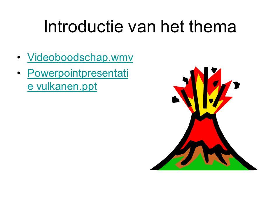 Introductie van het thema Videoboodschap.wmv Powerpointpresentati e vulkanen.pptPowerpointpresentati e vulkanen.ppt