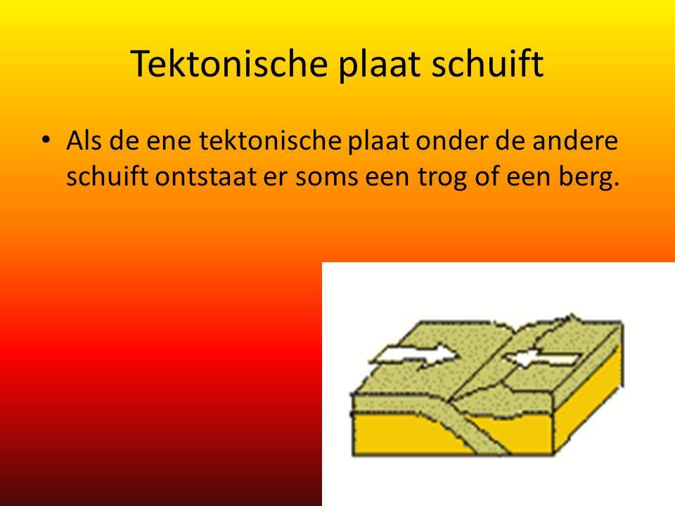 Tektonische plaat schuift Als de ene tektonische plaat onder de andere schuift ontstaat er soms een trog of een berg.