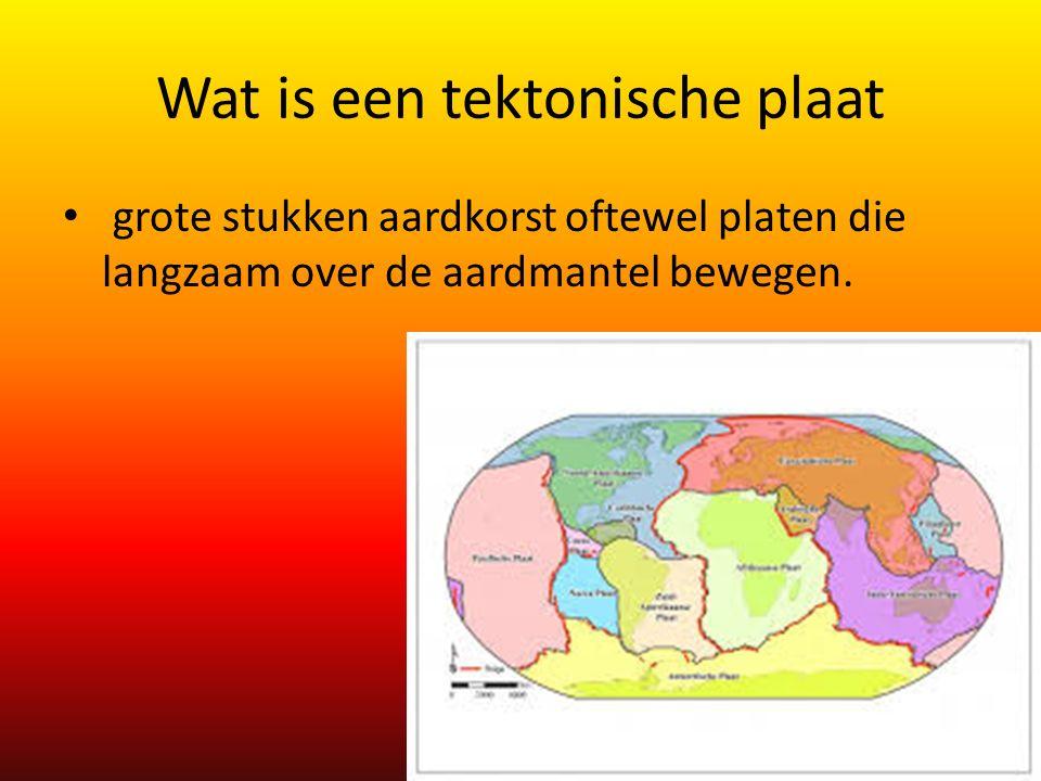 Wat is een tektonische plaat grote stukken aardkorst oftewel platen die langzaam over de aardmantel bewegen.