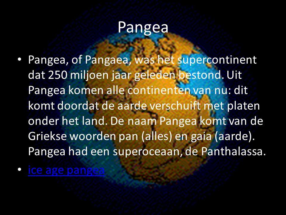 Pangea Pangea, of Pangaea, was het supercontinent dat 250 miljoen jaar geleden bestond. Uit Pangea komen alle continenten van nu: dit komt doordat de
