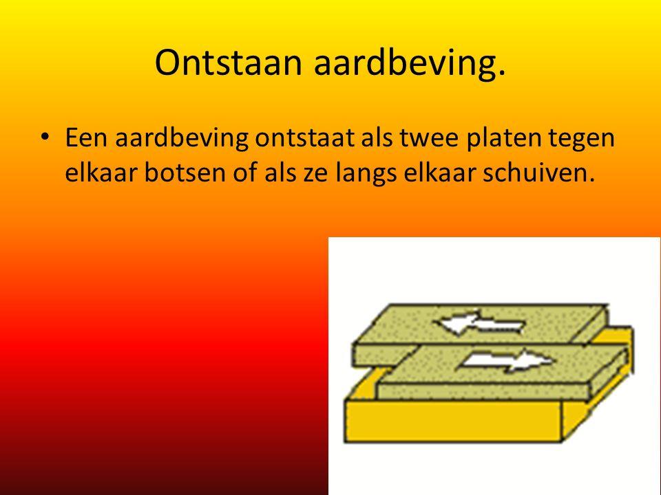 Ontstaan aardbeving. Een aardbeving ontstaat als twee platen tegen elkaar botsen of als ze langs elkaar schuiven.
