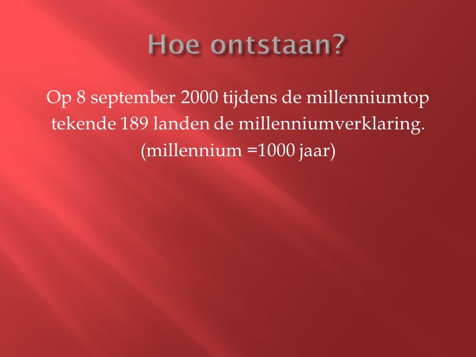 Op 8 september 2000 tijdens de millenniumtop tekende 189 landen de millenniumverklaring.