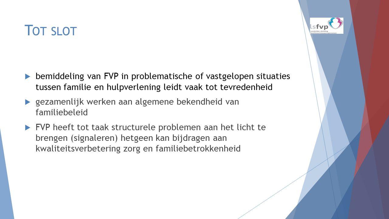 T OT SLOT  bemiddeling van FVP in problematische of vastgelopen situaties tussen familie en hulpverlening leidt vaak tot tevredenheid  gezamenlijk w