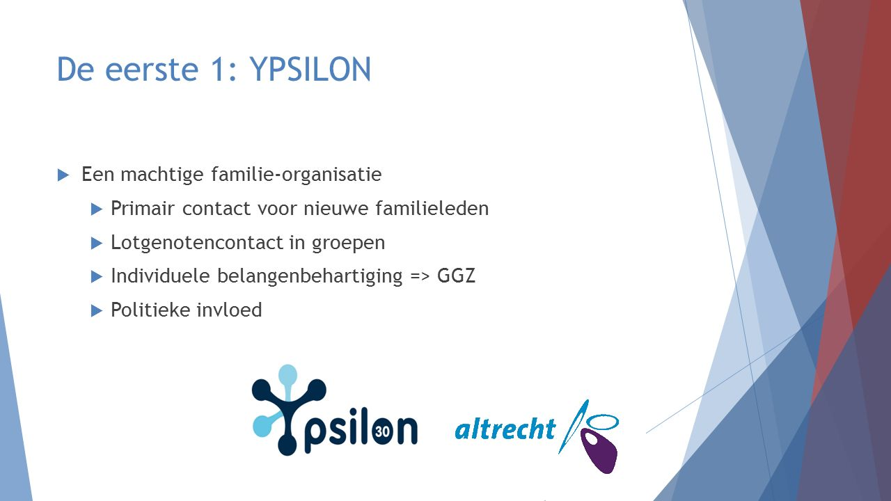 De tweede 1: familiebeleid  De Modelregeling Betrokken Omgeving: naar een familiebeleid van de GGZ  Schwung voor vele familieraden (ook landelijk)  Familievertrouwenspersonen  Grote invloed van Ypsilonleden op familiebeleid