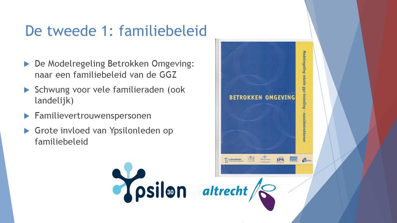 De tweede 1: familiebeleid  De Modelregeling Betrokken Omgeving: naar een familiebeleid van de GGZ  Schwung voor vele familieraden (ook landelijk) 