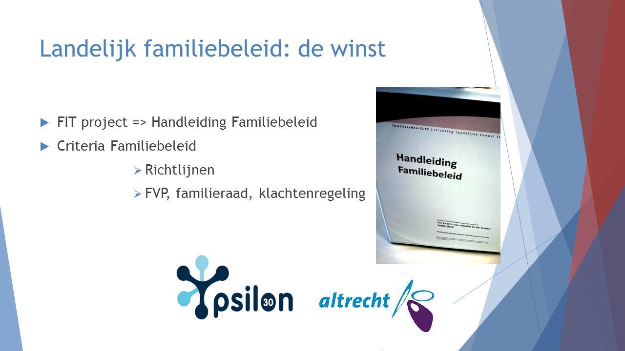 Landelijk familiebeleid: de winst  FIT project => Handleiding Familiebeleid  Criteria Familiebeleid  Richtlijnen  FVP, familieraad, klachtenregeli