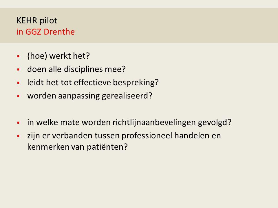 KEHR pilot in GGZ Drenthe  (hoe) werkt het.  doen alle disciplines mee.