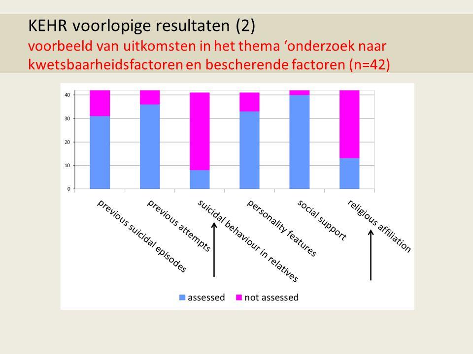 KEHR voorlopige resultaten (2) voorbeeld van uitkomsten in het thema 'onderzoek naar kwetsbaarheidsfactoren en bescherende factoren (n=42)
