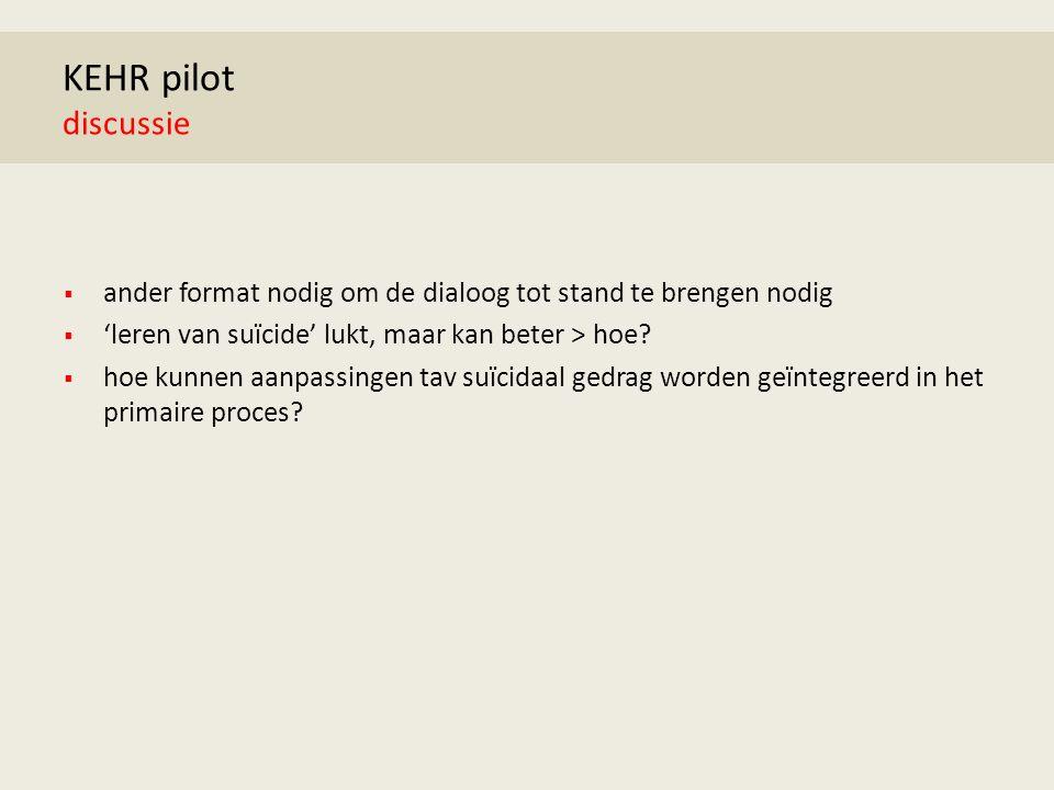 KEHR pilot discussie  ander format nodig om de dialoog tot stand te brengen nodig  'leren van suïcide' lukt, maar kan beter > hoe.