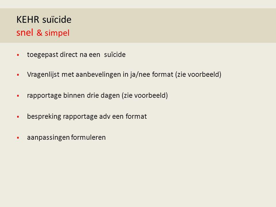 KEHR suïcide snel & simpel  toegepast direct na een suïcide  Vragenlijst met aanbevelingen in ja/nee format (zie voorbeeld)  rapportage binnen drie dagen (zie voorbeeld)  bespreking rapportage adv een format  aanpassingen formuleren