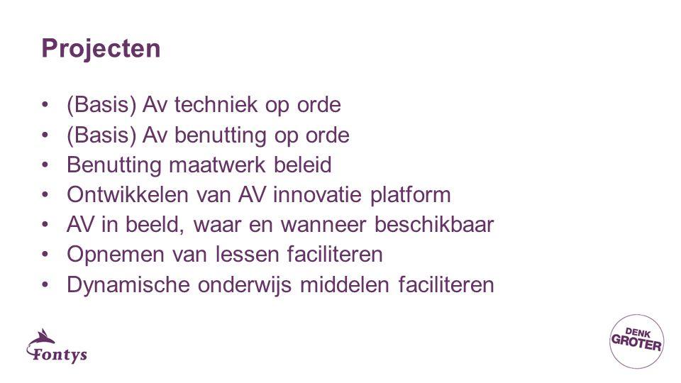 Projecten (Basis) Av techniek op orde (Basis) Av benutting op orde Benutting maatwerk beleid Ontwikkelen van AV innovatie platform AV in beeld, waar en wanneer beschikbaar Opnemen van lessen faciliteren Dynamische onderwijs middelen faciliteren