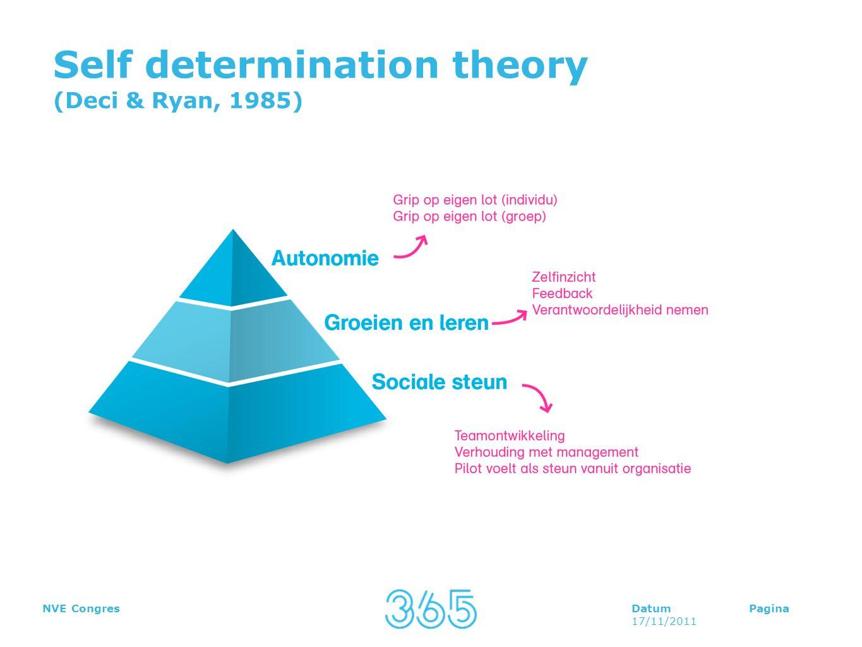 DatumPagina 17/11/2011 NVE Congres Self determination theory (Deci & Ryan, 1985)