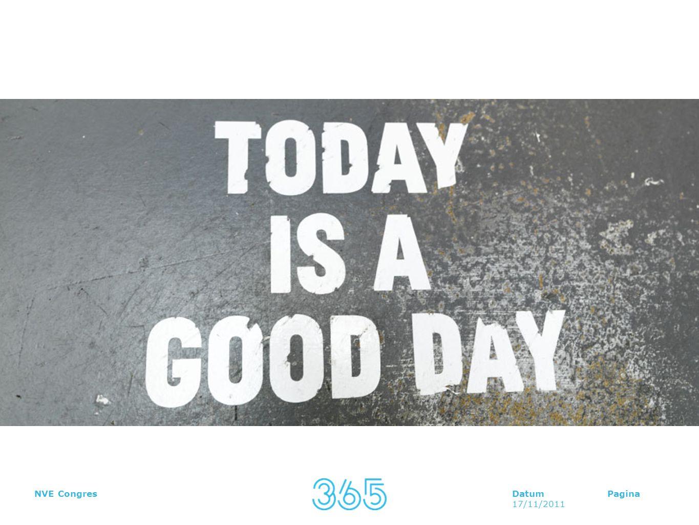 DatumPagina 17/11/2011 NVE Congres Vaker vriendelijk gedrag vertonen Regelmatig goed nieuws delen Goede sociale relaties koesteren Het optimisme in jezelf stimuleren Je dankbaarheid uiten Expliciet je zegeningen tellen Bewust genieten van het leven Jezelf en anderen kunnen vergeven Haalbare doelen stellen en nastreven Gedragsmatig Cognitief Motivationeel Hoe zien de interventies eruit?