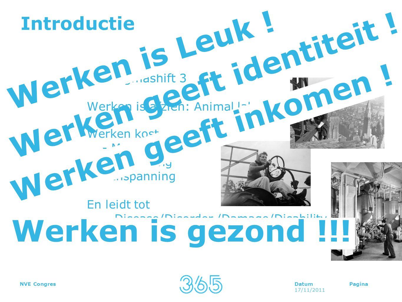 DatumPagina 17/11/2011 NVE Congres Introductie Paradigmashift 3 Werken is afzien: Animal laborans Werken kost - Moeite - Opoffering - Inspanning En le