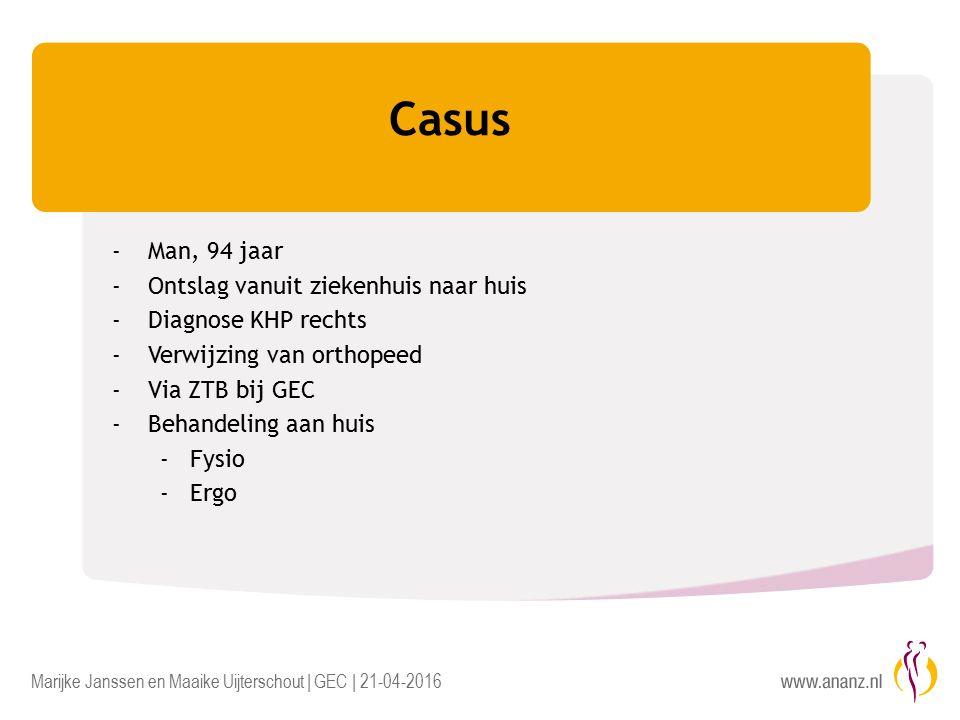 Marijke Janssen en Maaike Uijterschout | GEC | 21-04-2016 Casus -Man, 94 jaar -Ontslag vanuit ziekenhuis naar huis -Diagnose KHP rechts -Verwijzing van orthopeed -Via ZTB bij GEC -Behandeling aan huis -Fysio -Ergo
