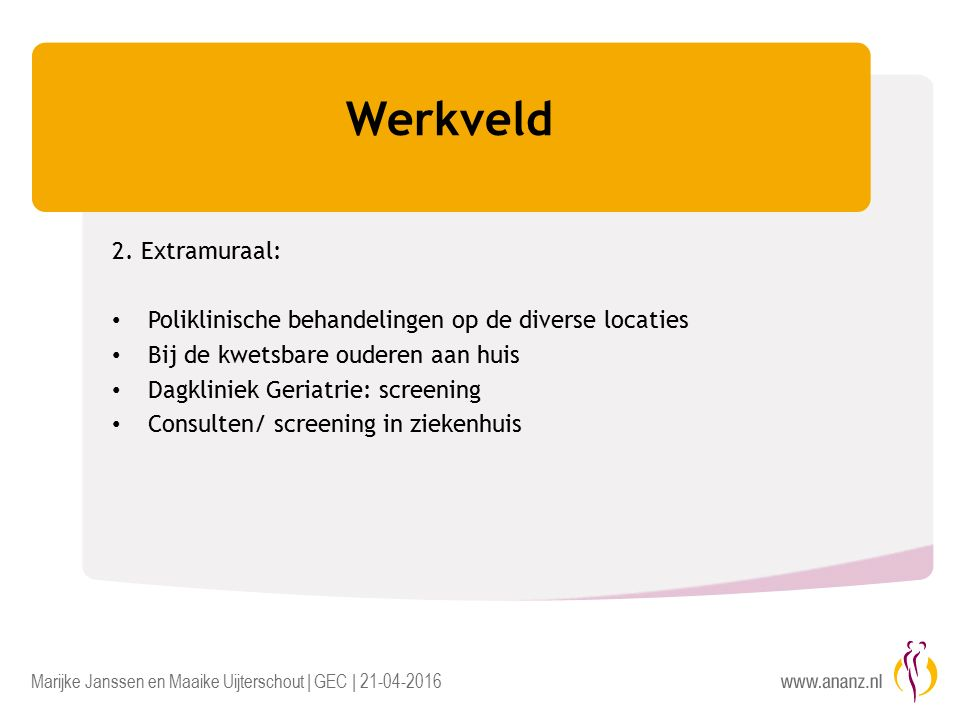 Marijke Janssen en Maaike Uijterschout | GEC | 21-04-2016 Werkveld 2.