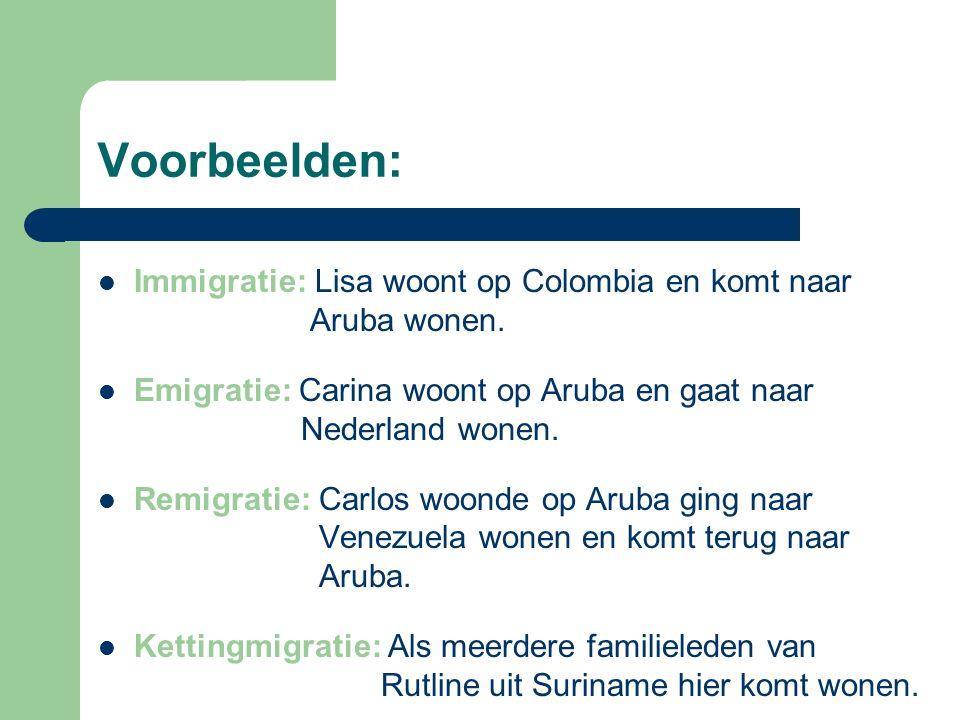 Voorbeelden: Immigratie: Lisa woont op Colombia en komt naar Aruba wonen.