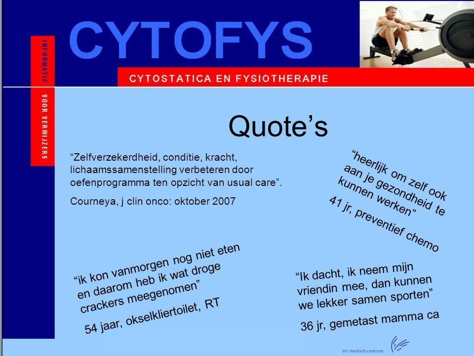 Project Cytofys 2007 – 2008 AVL / VUmc / Motion fysiotherapie (Uithoorn) Deelnemers wisten gemiddeld genomen de conditie te behouden en kracht iets te verbeteren.