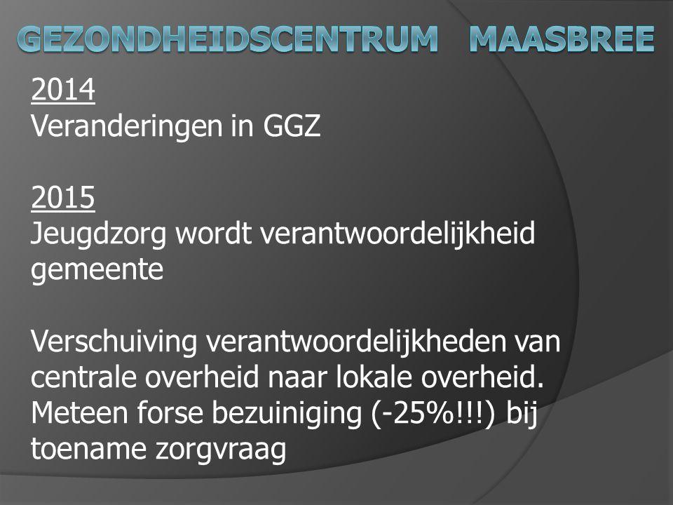 2014 Veranderingen in GGZ 2015 Jeugdzorg wordt verantwoordelijkheid gemeente Verschuiving verantwoordelijkheden van centrale overheid naar lokale over