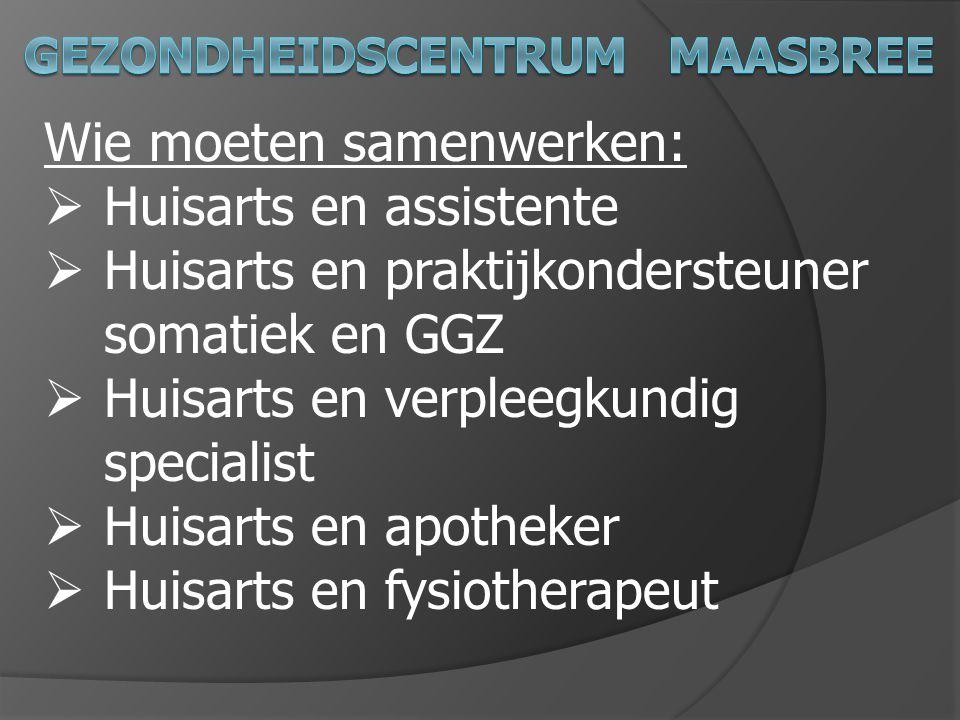 Wie moeten samenwerken:  Huisarts en assistente  Huisarts en praktijkondersteuner somatiek en GGZ  Huisarts en verpleegkundig specialist  Huisarts