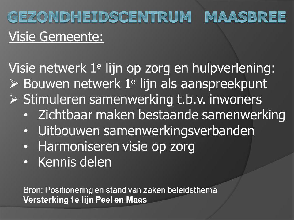 Visie Gemeente: Visie netwerk 1 e lijn op zorg en hulpverlening:  Bouwen netwerk 1 e lijn als aanspreekpunt  Stimuleren samenwerking t.b.v. inwoners