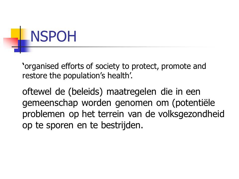 'organised efforts of society to protect, promote and restore the population's health'. oftewel de (beleids) maatregelen die in een gemeenschap worden