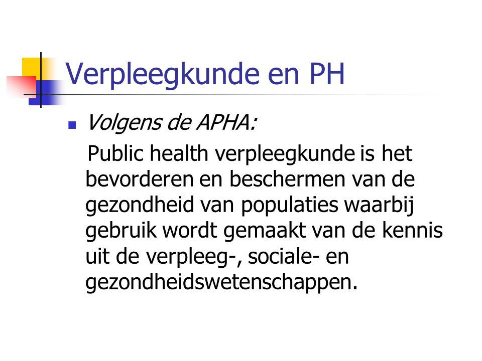 Verpleegkunde en PH Volgens de APHA: Public health verpleegkunde is het bevorderen en beschermen van de gezondheid van populaties waarbij gebruik wordt gemaakt van de kennis uit de verpleeg-, sociale- en gezondheidswetenschappen.