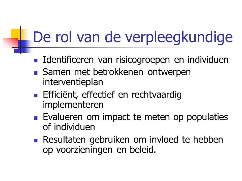De rol van de verpleegkundige Identificeren van risicogroepen en individuen Samen met betrokkenen ontwerpen interventieplan Efficiënt, effectief en re