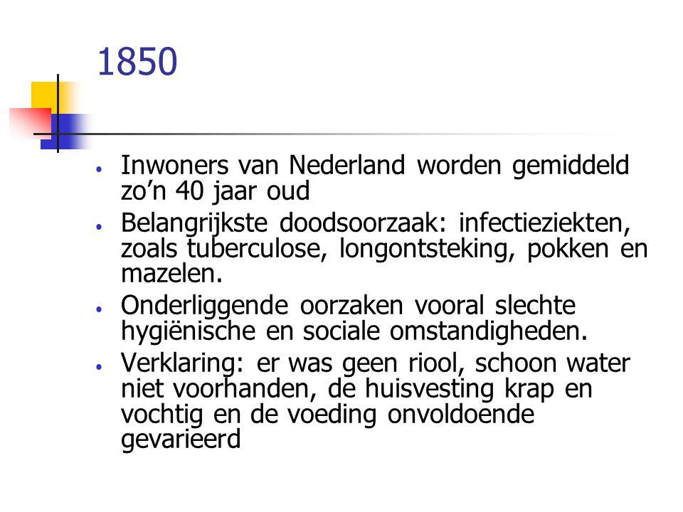 1850 Inwoners van Nederland worden gemiddeld zo'n 40 jaar oud Belangrijkste doodsoorzaak: infectieziekten, zoals tuberculose, longontsteking, pokken e