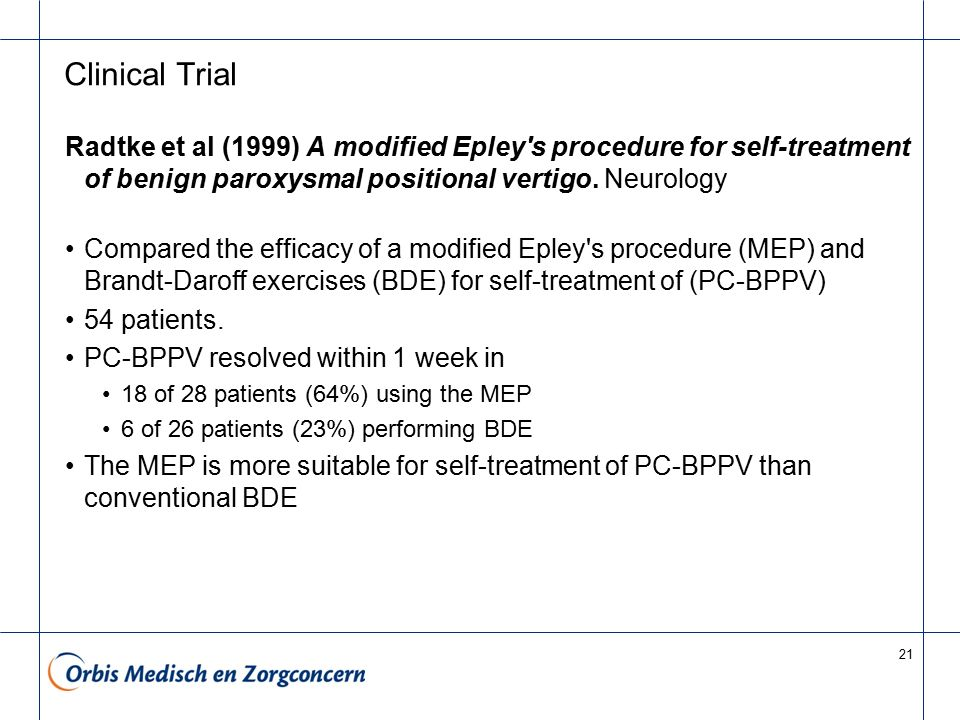 21 Clinical Trial Radtke et al (1999) A modified Epley's procedure for self-treatment of benign paroxysmal positional vertigo. Neurology Compared the