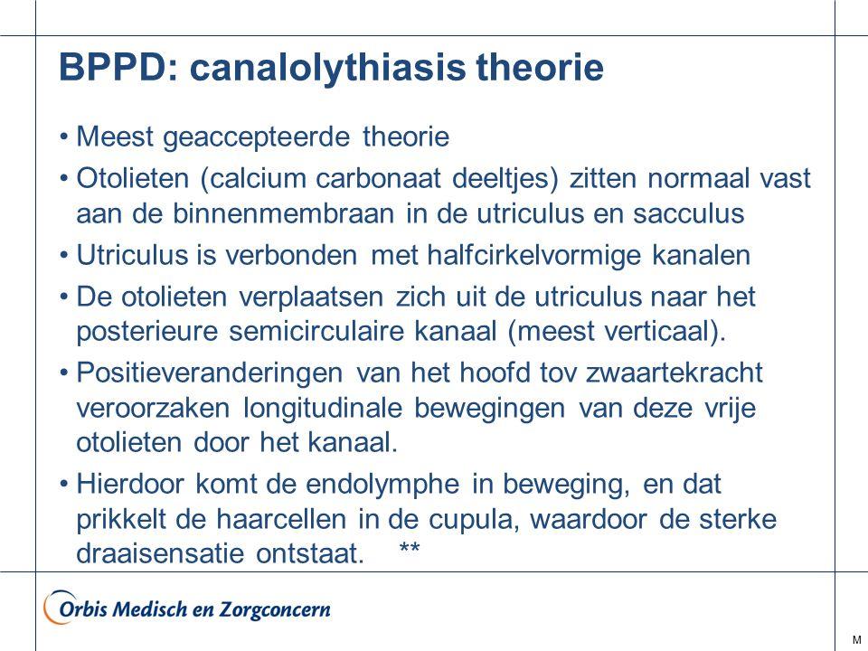 M BPPD: canalolythiasis theorie Meest geaccepteerde theorie Otolieten (calcium carbonaat deeltjes) zitten normaal vast aan de binnenmembraan in de utr