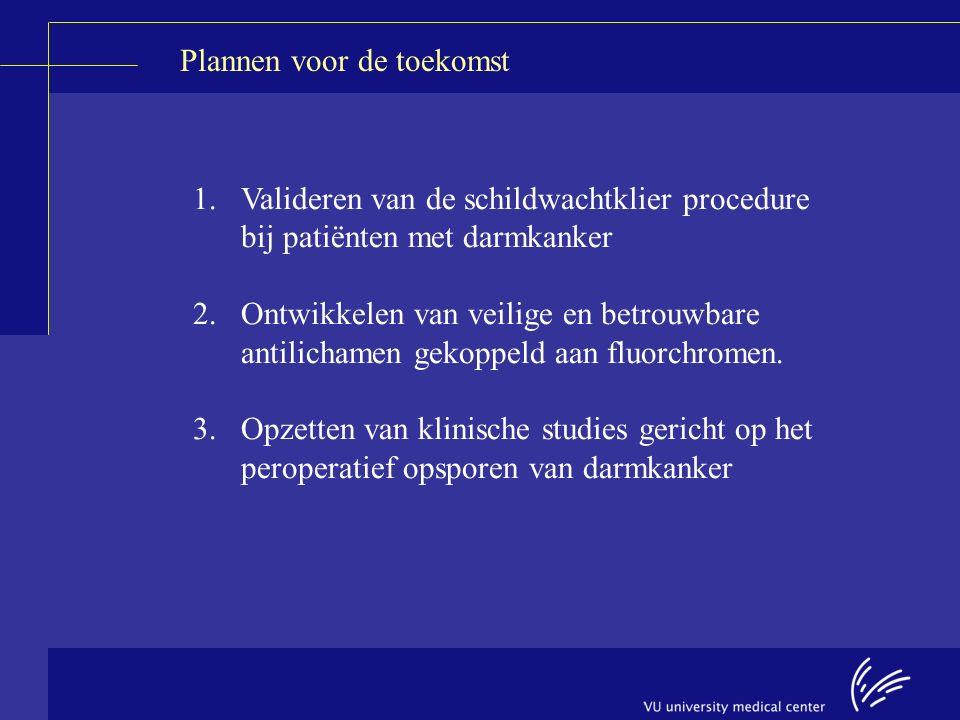 Plannen voor de toekomst 1.Valideren van de schildwachtklier procedure bij patiënten met darmkanker 2.Ontwikkelen van veilige en betrouwbare antilichamen gekoppeld aan fluorchromen.
