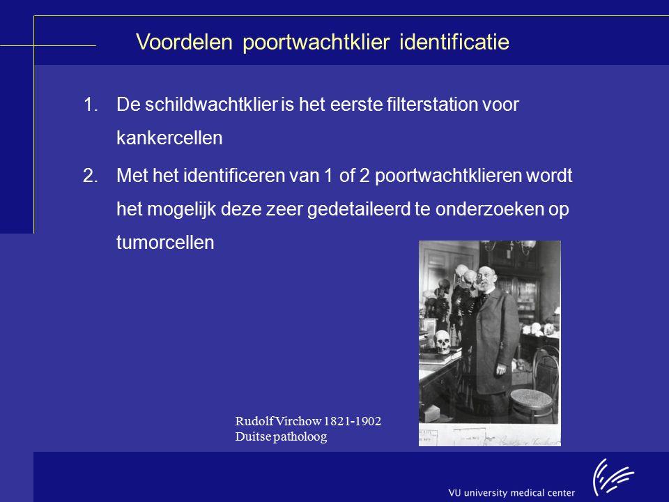 1.De schildwachtklier is het eerste filterstation voor kankercellen 2.Met het identificeren van 1 of 2 poortwachtklieren wordt het mogelijk deze zeer gedetaileerd te onderzoeken op tumorcellen Voordelen poortwachtklier identificatie Rudolf Virchow 1821-1902 Duitse patholoog