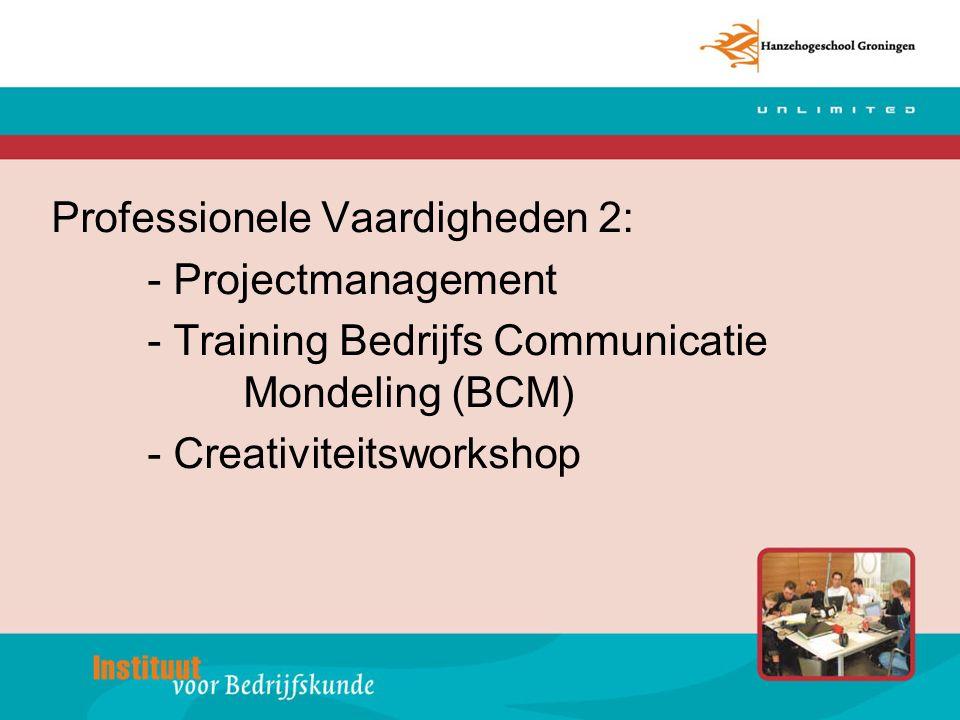 Professionele Vaardigheden 2: - Projectmanagement - Training Bedrijfs Communicatie Mondeling (BCM) - Creativiteitsworkshop