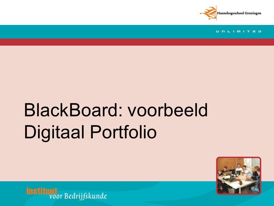 BlackBoard: voorbeeld Digitaal Portfolio
