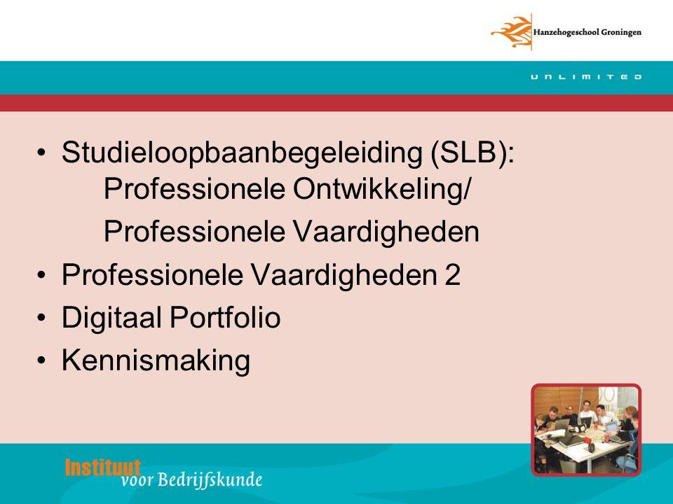 Studieloopbaanbegeleiding SLB Vanaf september 2008 is SLB onderverdeeld in: –Professionele Ontwikkeling (PO) –Professionele Vaardigheden (PV)