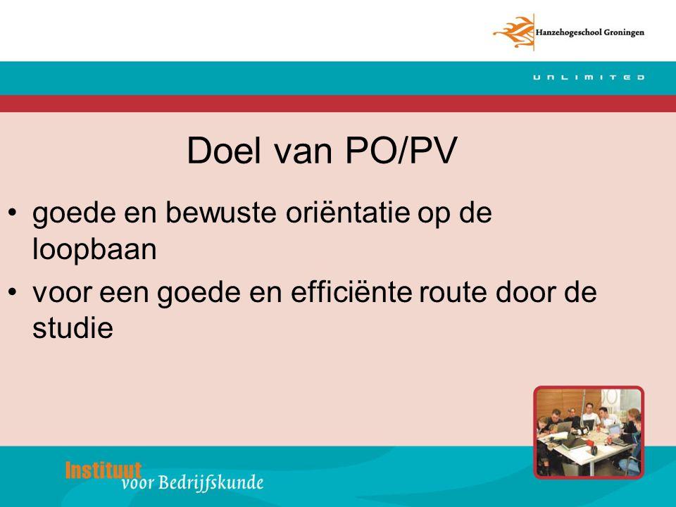 Doel van PO/PV goede en bewuste oriëntatie op de loopbaan voor een goede en efficiënte route door de studie