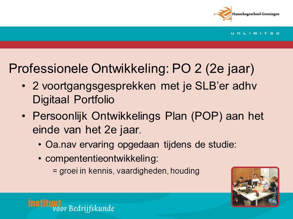 Professionele Ontwikkeling: PO 2 (2e jaar) 2 voortgangsgesprekken met je SLB'er adhv Digitaal Portfolio Persoonlijk Ontwikkelings Plan (POP) aan het einde van het 2e jaar.
