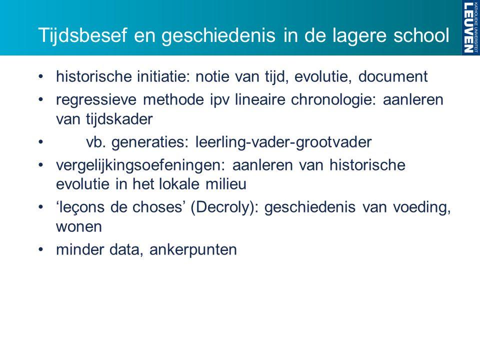 Tijdsbesef en geschiedenis in de lagere school historische initiatie: notie van tijd, evolutie, document regressieve methode ipv lineaire chronologie: aanleren van tijdskader vb.