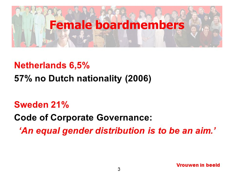 3 Vrouwen in beeld Female boardmembers Netherlands 6,5% 57% no Dutch nationality (2006) Sweden 21% Code of Corporate Governance: 'An equal gender dist