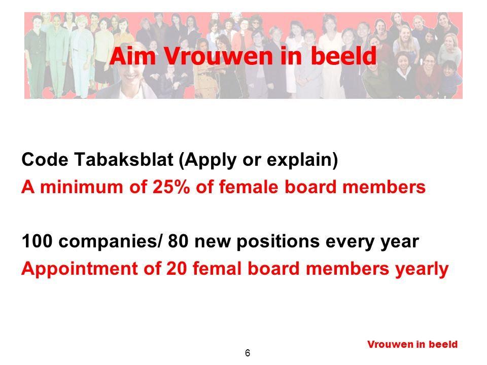 6 Vrouwen in beeld Aim Vrouwen in beeld Code Tabaksblat (Apply or explain) A minimum of 25% of female board members 100 companies/ 80 new positions every year Appointment of 20 femal board members yearly