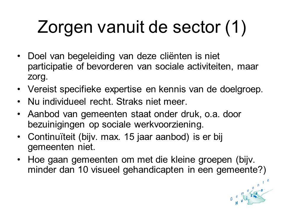 Zorgen vanuit de sector (1) Doel van begeleiding van deze cliënten is niet participatie of bevorderen van sociale activiteiten, maar zorg. Vereist spe
