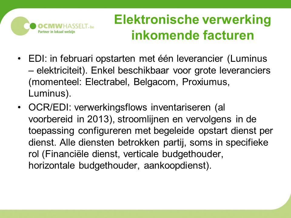 EDI: in februari opstarten met één leverancier (Luminus – elektriciteit).