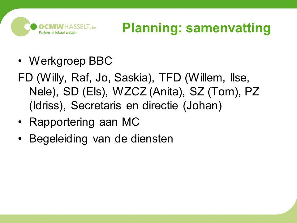 Werkgroep BBC FD (Willy, Raf, Jo, Saskia), TFD (Willem, Ilse, Nele), SD (Els), WZCZ (Anita), SZ (Tom), PZ (Idriss), Secretaris en directie (Johan) Rapportering aan MC Begeleiding van de diensten