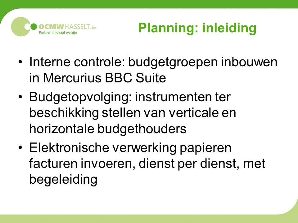 Planning: inleiding Interne controle: budgetgroepen inbouwen in Mercurius BBC Suite Budgetopvolging: instrumenten ter beschikking stellen van verticale en horizontale budgethouders Elektronische verwerking papieren facturen invoeren, dienst per dienst, met begeleiding
