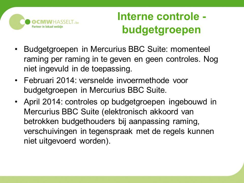 Interne controle - budgetgroepen Budgetgroepen in Mercurius BBC Suite: momenteel raming per raming in te geven en geen controles.