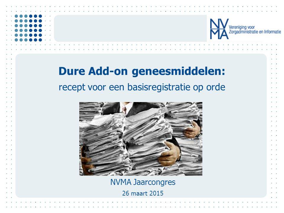 Dure Add-on geneesmiddelen: recept voor een basisregistratie op orde NVMA Jaarcongres 26 maart 2015